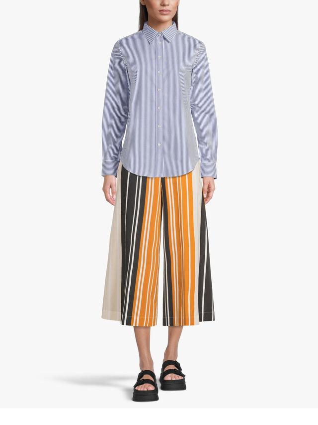 Striped Wide Leg Cotton Popline Culotte