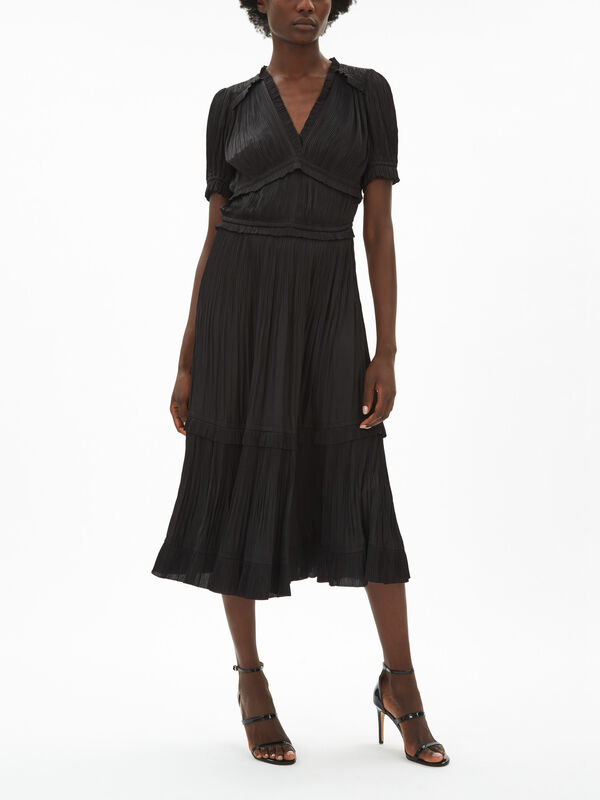 Jocelyn V Neck Pleated Dress