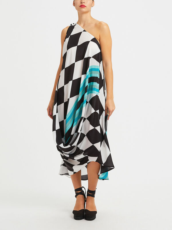 Harlequin One Shoulder Dress