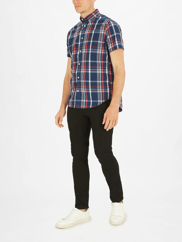 Washed Indigo Large Check Short Sleeve Shirt