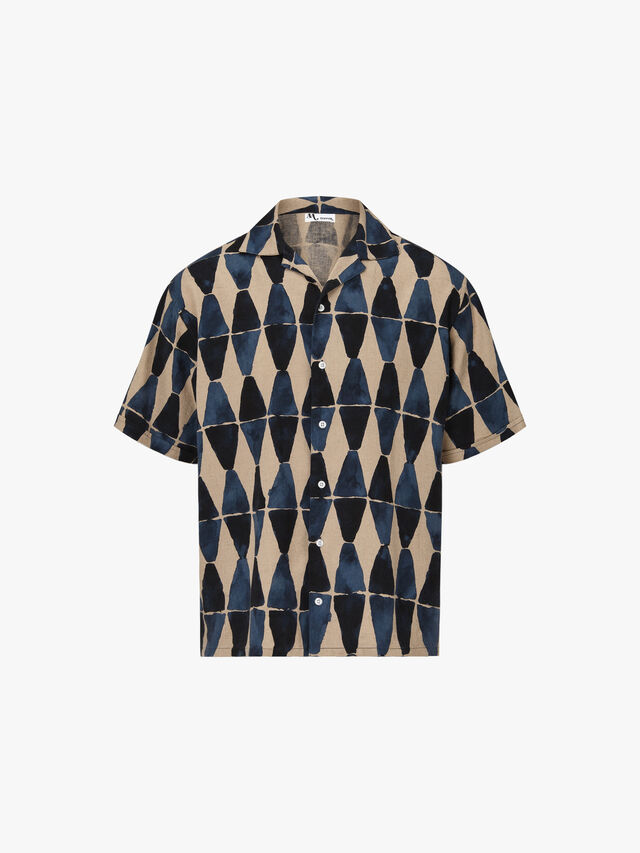 Cuban Collar Triangle Print Shirt