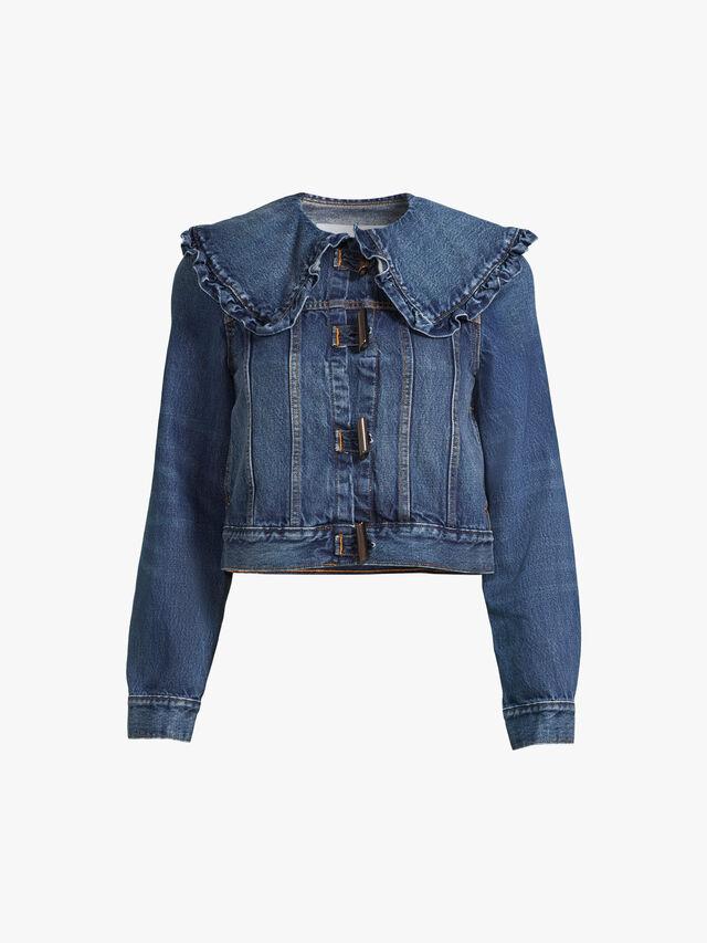 Frilled Wide Collar Denim Jacket