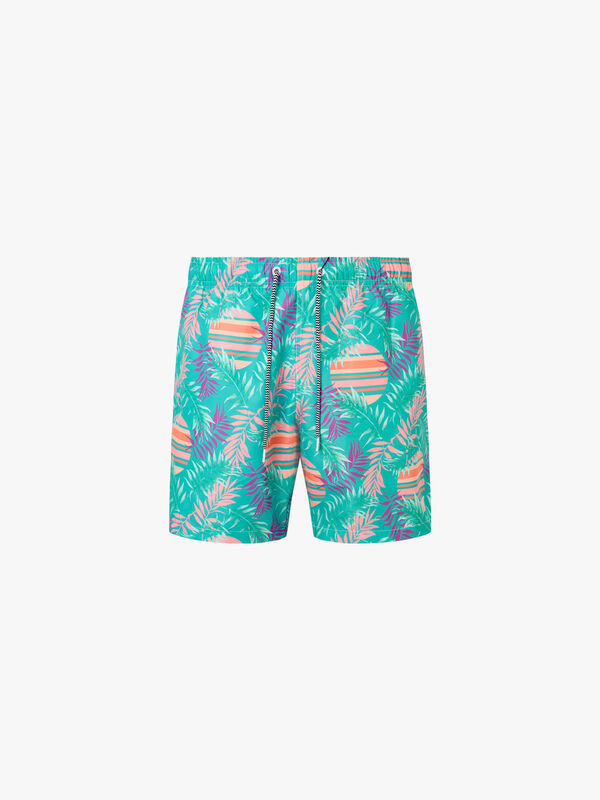 Rising Palm Mid Length Swim Shorts