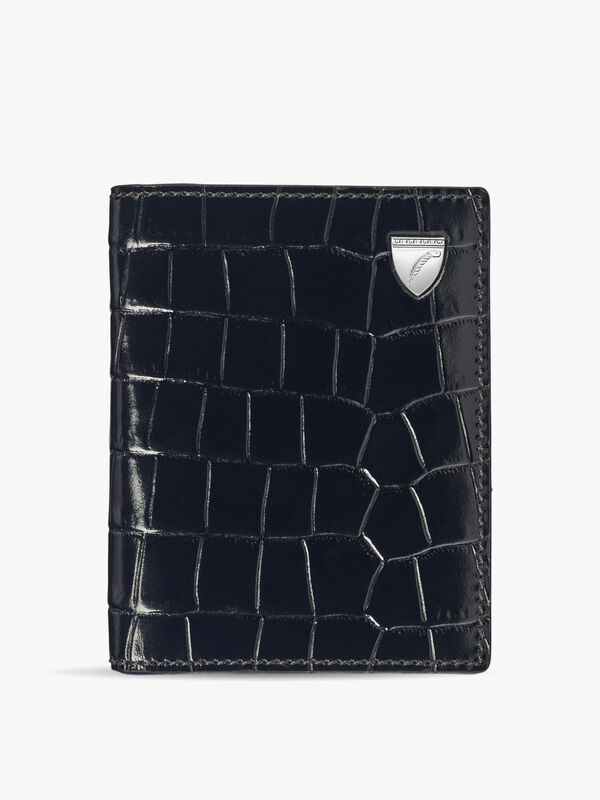 Leather Croc Travel Card Case