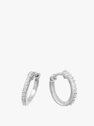 Silver Pave Hinged Hoops