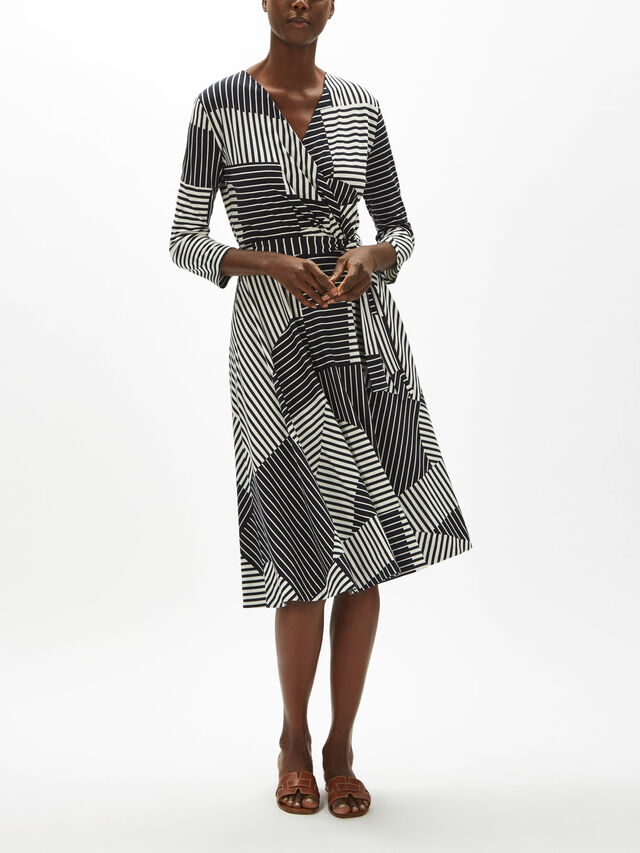 Acqua Stripe Wrap Dress