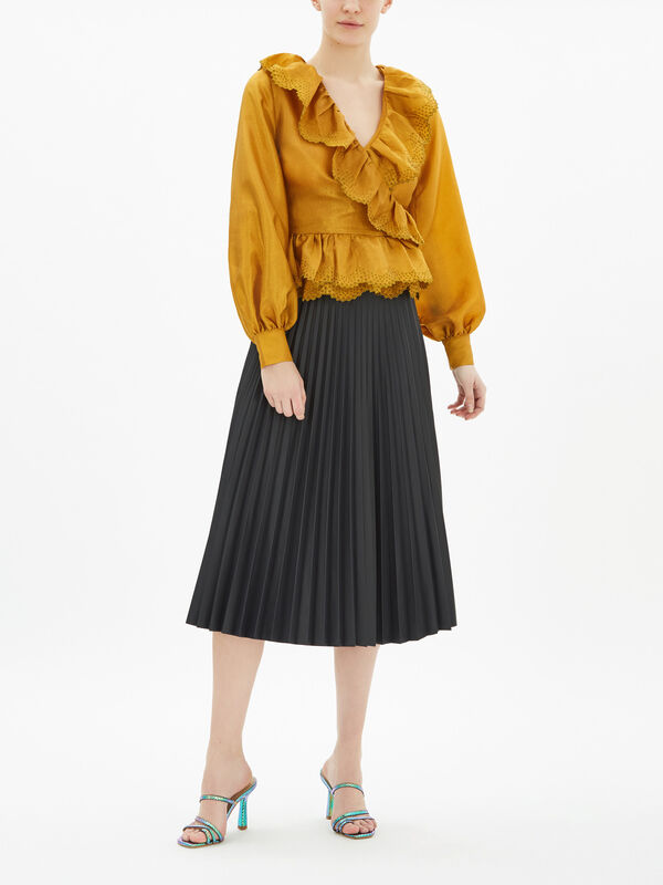 Carly Textured Wrap Blouse