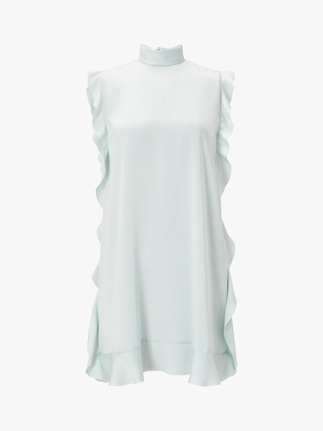 High Neck Side Ruffle Sleeveless Dress