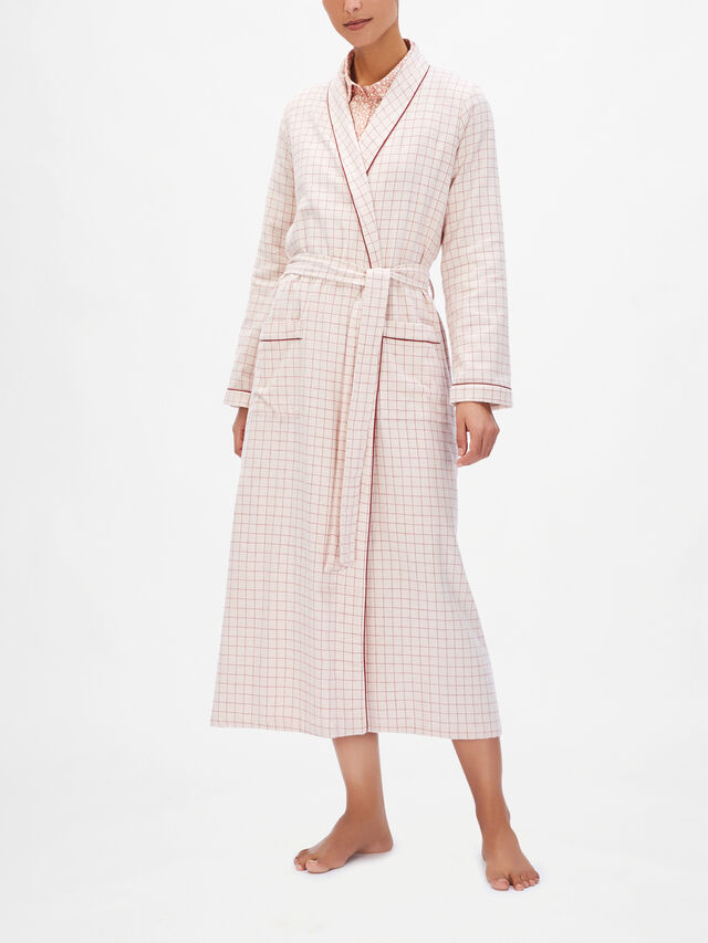 Quadrille Brushed Cotton Long Tie Robe with Pockets
