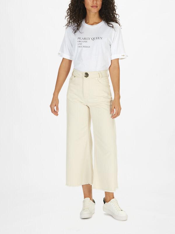 Cropped Wide Leg Denim Trouser