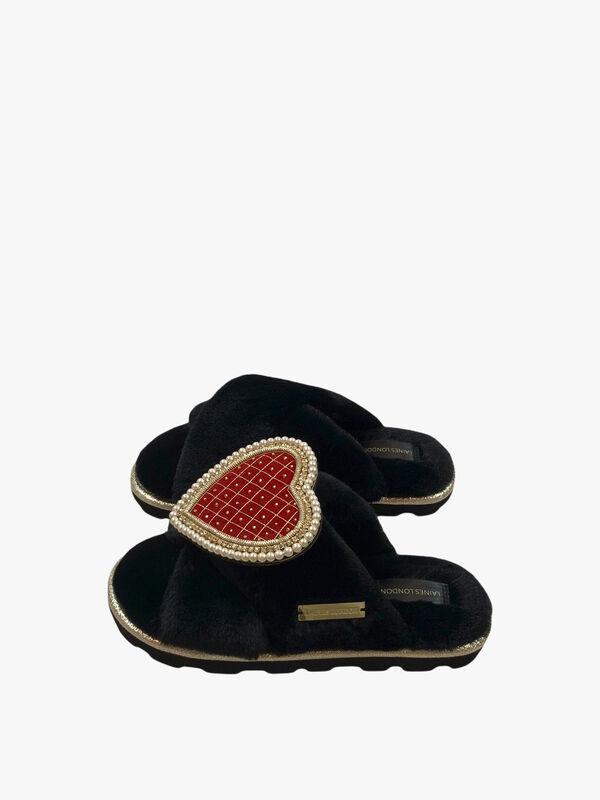 Ultralight Chic Black Slipper with Deluxe Artisan Heart Brooch