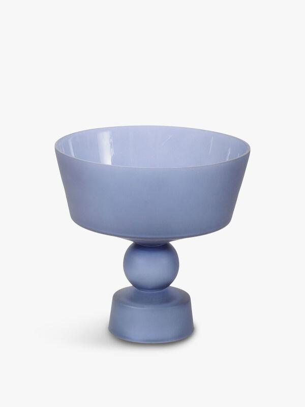Nova Blue Glass Stemmed Bowl
