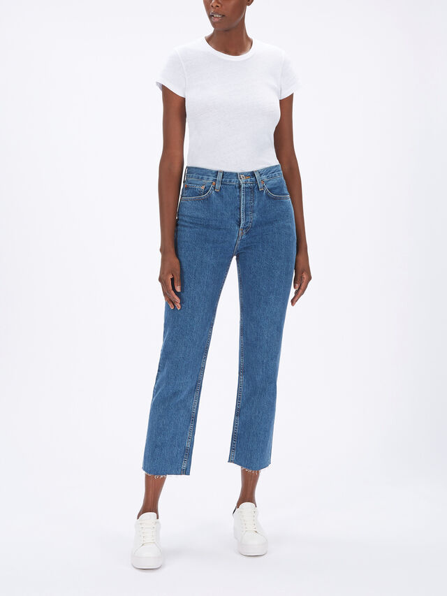 High Rise Stove Pipe Jeans