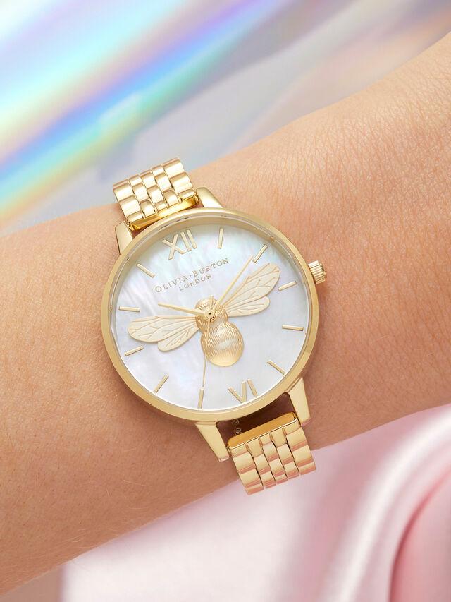 Lucky Bee Mop Demi Dial Gold Bracelet Watch