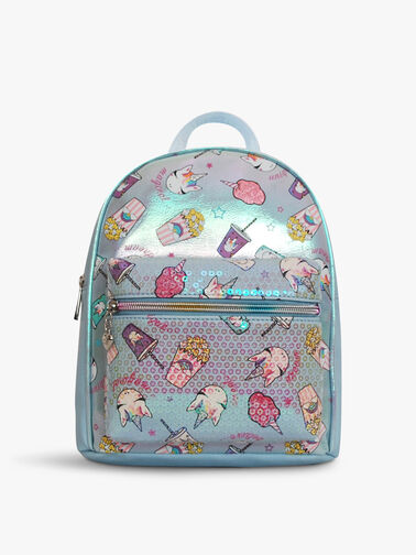 Metallic Junk Food Print Mini Backpack