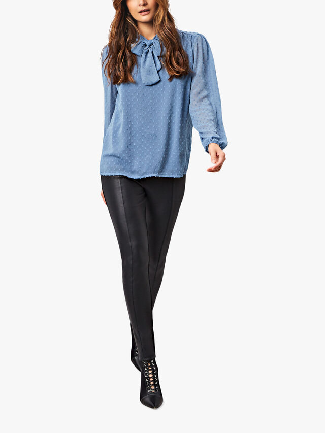 Textured Bow Neck Blouse