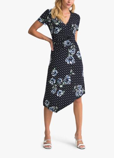 Dot-and-Flower-Print-Ruched-Shsl-Dress-0001168166