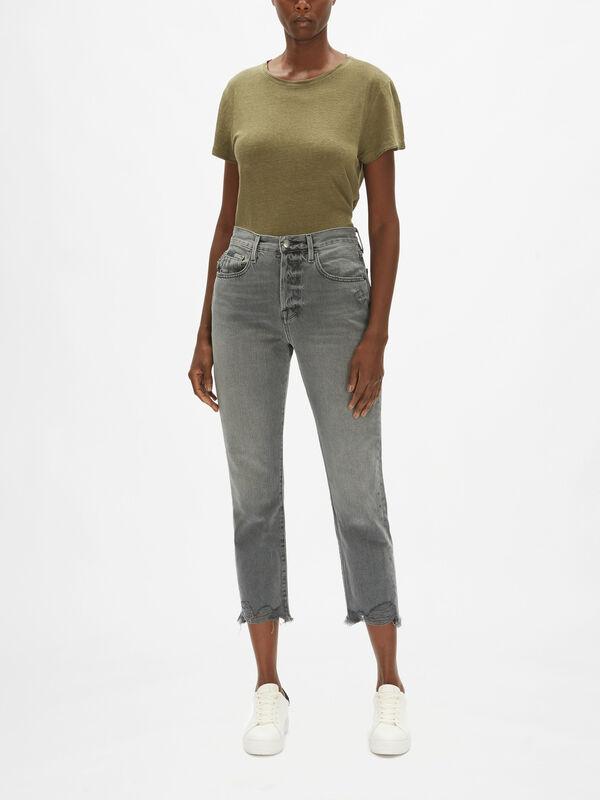 Le Original High Rise Mom Fit Raw Edge Jeans