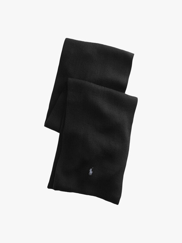 Logo Embroidered Wool Scarf