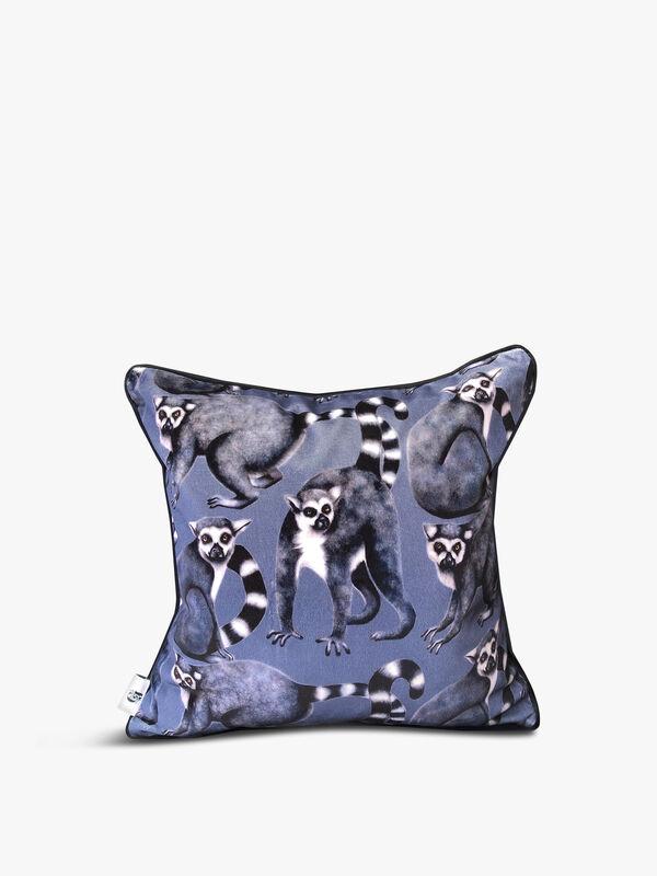 Velvet Front Cheeky Lemur Cushion