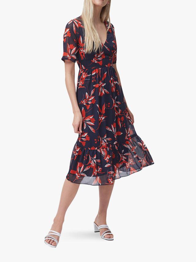 Eliva Crinkle V-Neck Dress