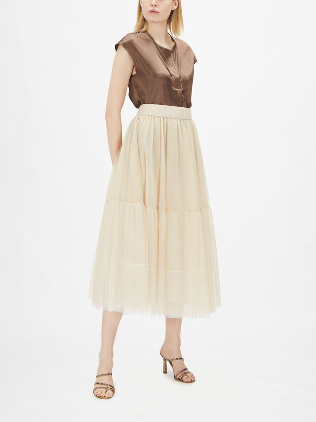 Layered Tule Midi Skirt