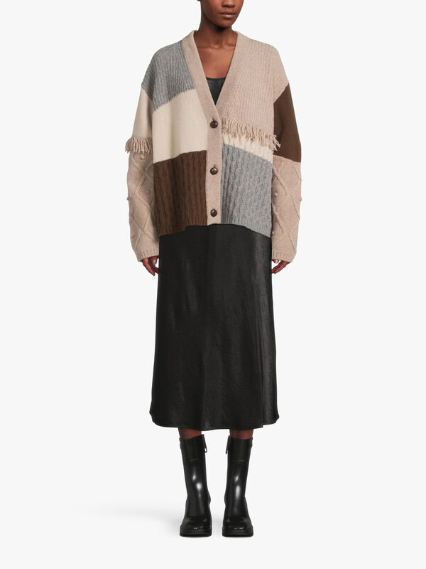 Fiocco Mix Cable Knit Cardigan