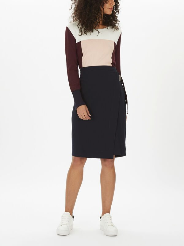 Asymetric Wrap Skirt with Buckle