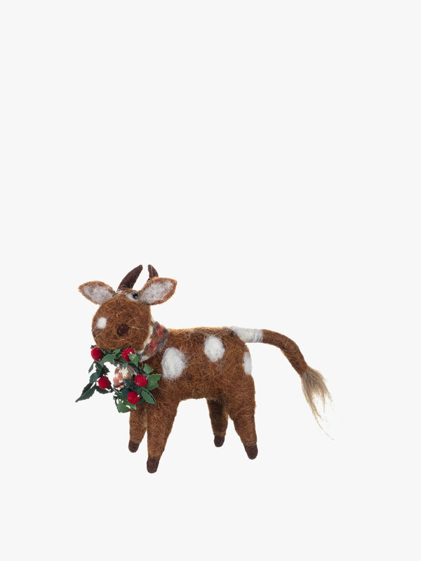 Maisie Moo Cow With Wreath Christmas Decoration