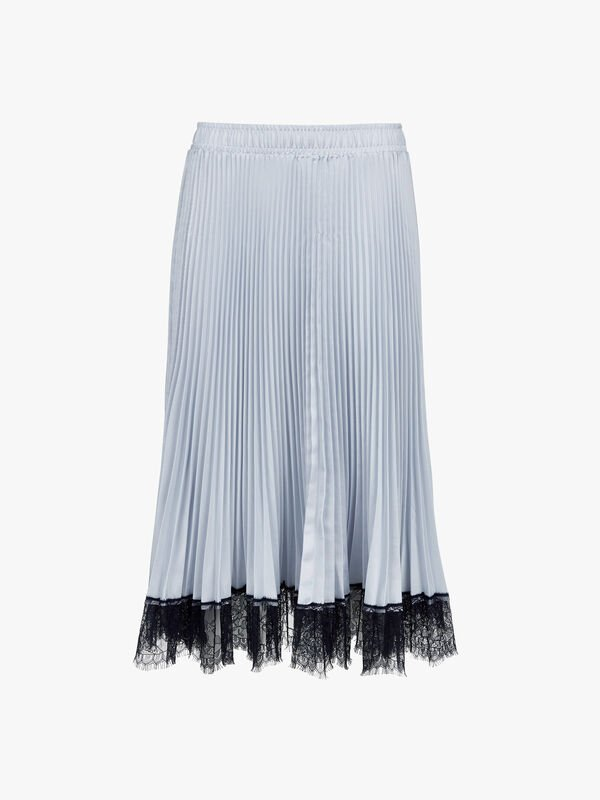 Lace Trim Pleated Skirt