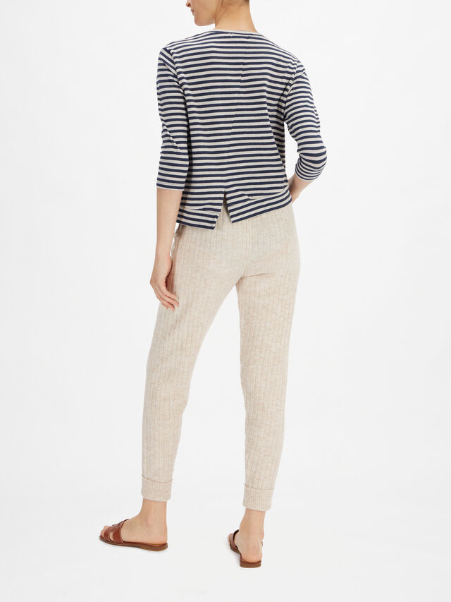 Stripe Eco Fleece Round Neck Cardigan