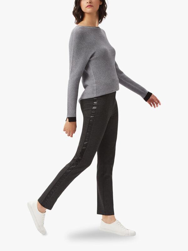 Side Faux Leather Stripe Trousers