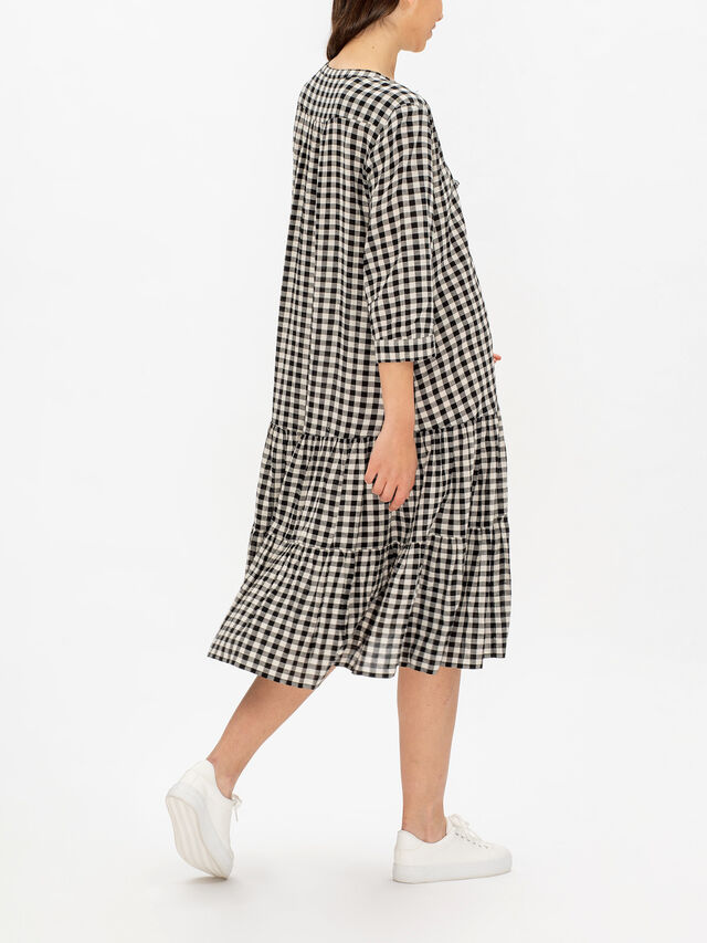 Nari Gingham Peasant Dress with Tassel Tie Neck Faste