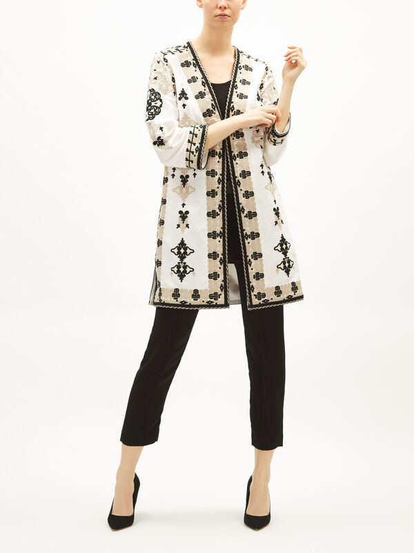 Aster Embroidered Linen Coat