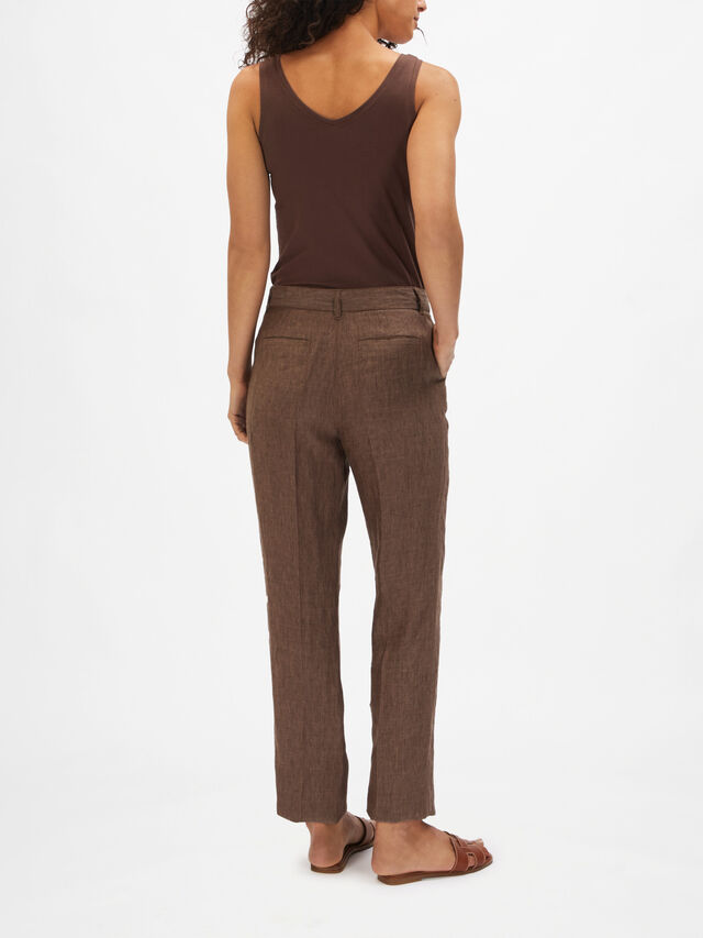 Linen Mel Belted Straight Leg Trouser