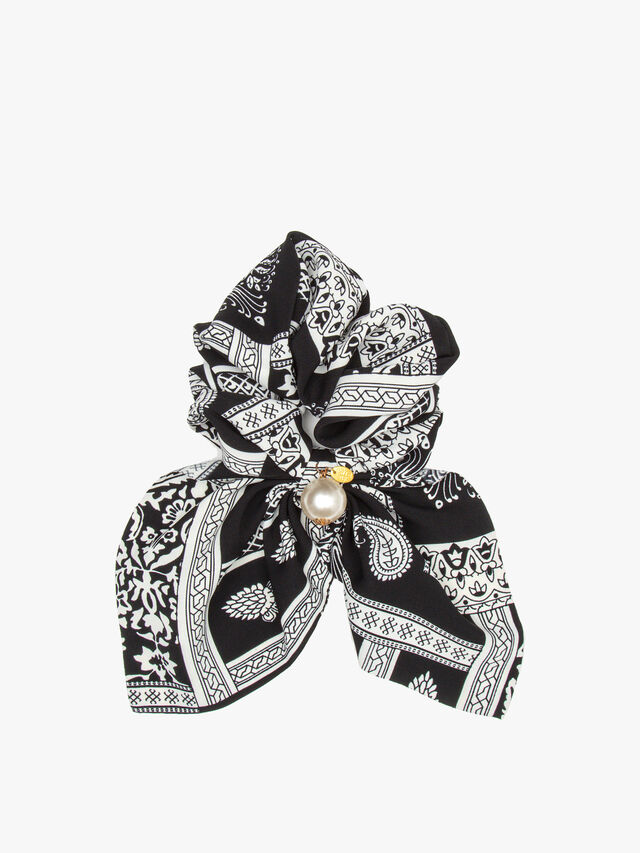 Print Short Scrunchie with Pearl