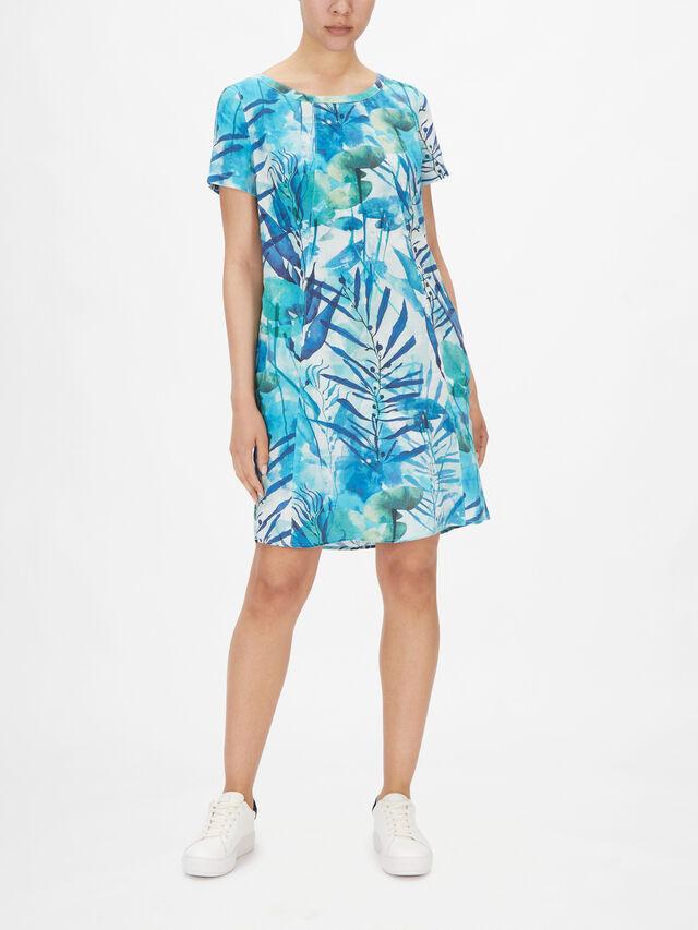 Leaf Print Linen Midi Dress