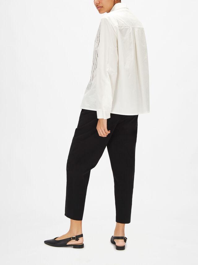 Long Sleeve A Line Stripe Print Shirt