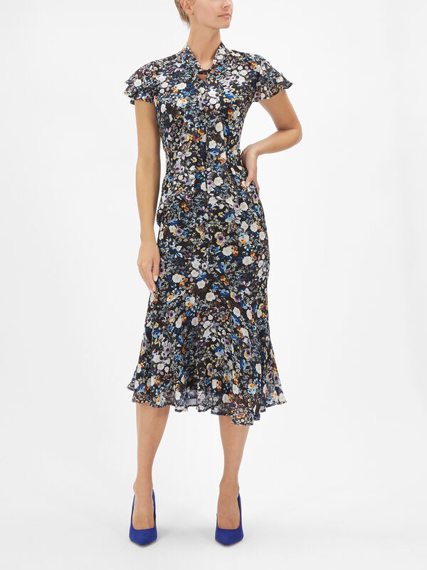 Wildflower Print Tie Neck F&F Dress