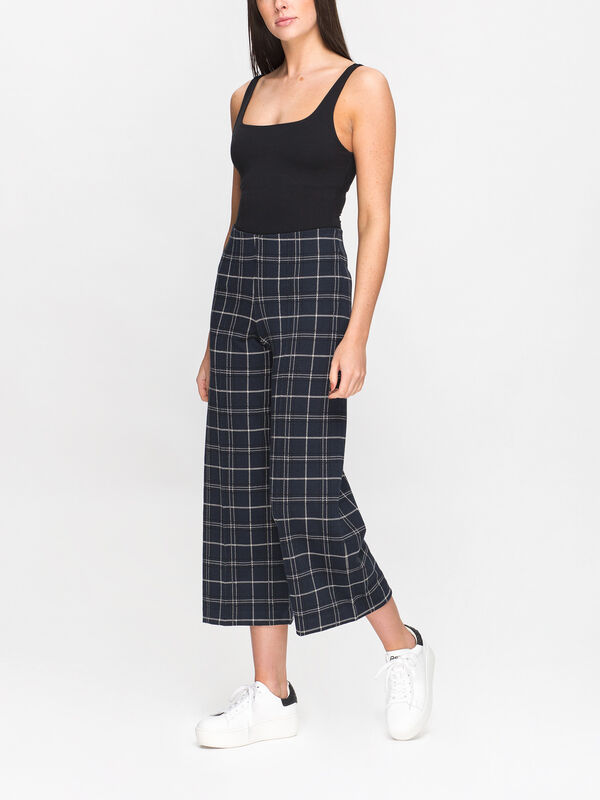 Ilisan Wide Leg Check Trousers