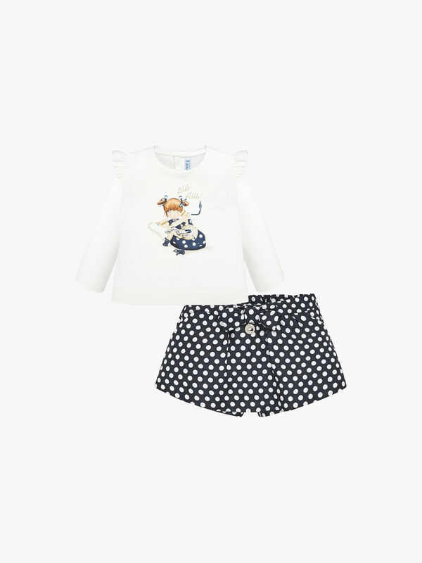 Printed Top And Spotty Shorts Set