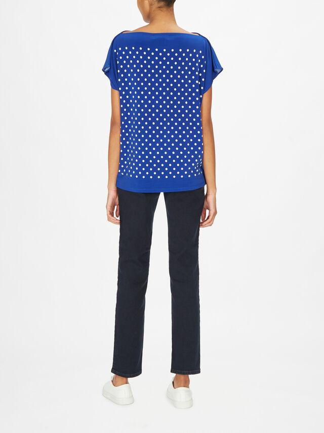 Andrenita Drop Shoulder Dot Print Jersey Top