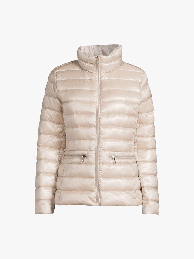 Funnel Neck Zip Up Short Quilted Coat