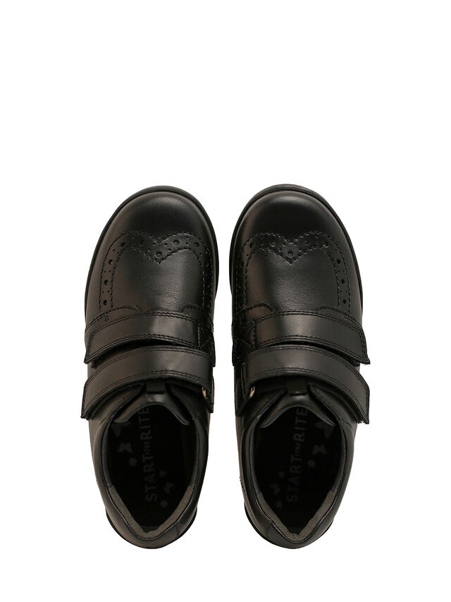 Flair Black Leather School Shoes