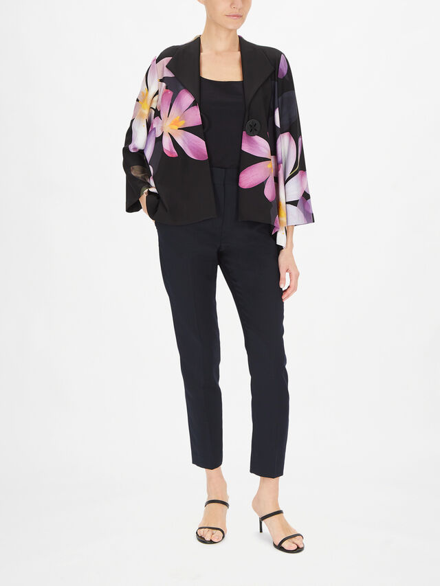 Flower Print Dip Hem Jacket with Single Button