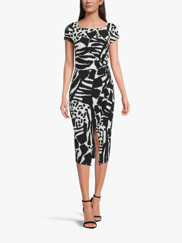 Monochrome Printed Fitted Dress with Wrap Skirt