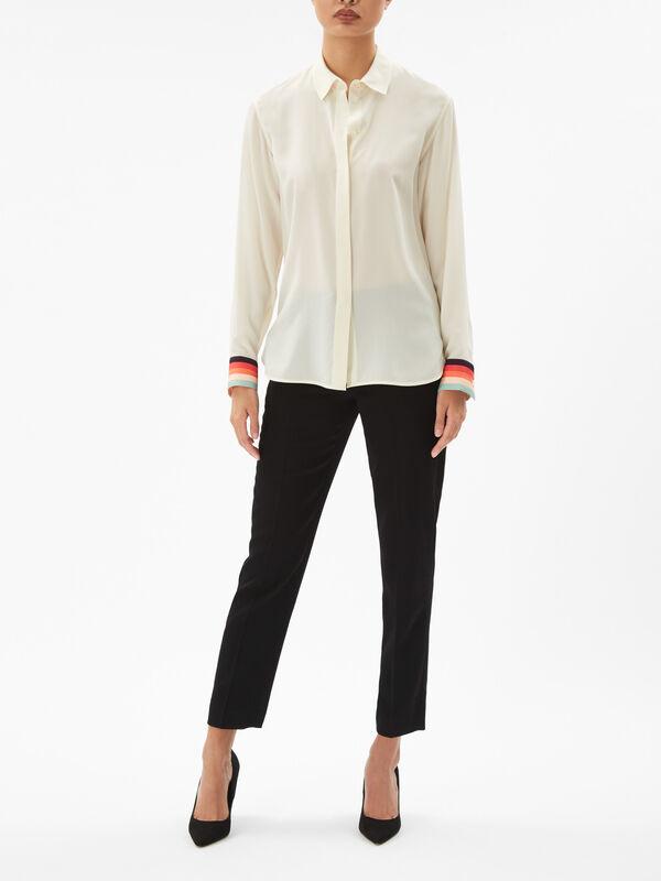 Silk Shirt with Stripe Cuff