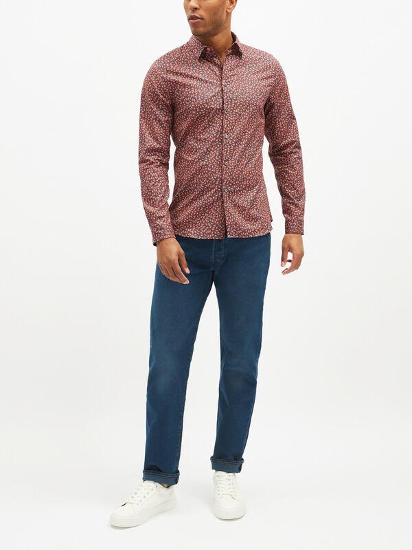 Slim Fit Leaf Print Shirt
