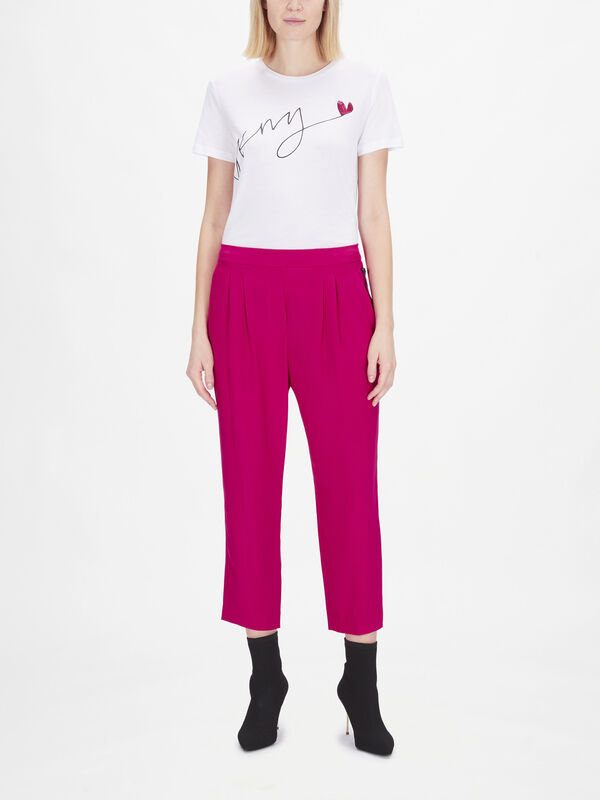 Cropped Trousers with Pleated Waistband