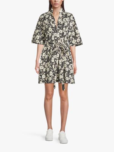 Flower-Print-Short-Cotton-Shirt-Dress-w-Waist-Tie-L1SU16